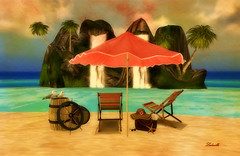 Sunny day (Milla DelRay) Tags: umbrella umbrellas waterfall waterfalls rock rocks beach beaches sea water sand palm palms chair chairs bag bags hat hats barrel barrels seagull seagulls helm helms nature sl secondlife