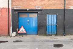 Try Your Brakes (Number Johnny 5) Tags: lines tamron d750 nikon decay doors industrial space mundane blue urban imanoot angles shapes boring banal posts drainpipes 2470mm signs johnpettigrew documenting