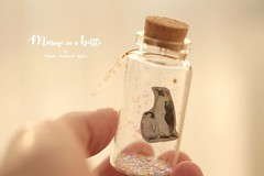 Mother's day,Father's day,I'd spend all my life with you,Tiny message in a bottle,Miniatures,Valentine Card,Gift for her/him,Girlfriend gift, birthday card, message card and penguins miniatures card ideas (charles fukuyama) Tags: babypenguin illustration handmadecard greetingcard holidaycard custom unique glitter lovecard funnycard paper art deskdecoration homedecor cuteanimals seasonalcard bottle tiny kikuike