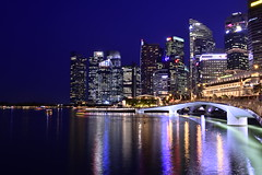 Singapore Marina Bay (faridisaad) Tags: singapore marina bay blue hour skyline metropolis shoreline night lights reflections