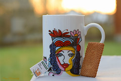 Tea and biscuits... (Maria Godfrida) Tags: biscuits tea closeup mug colourful backlight weeklythemechallenge design