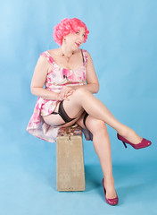 Pink Bob with a floral sundress (Chip York Photography) Tags: annamarieyork bobbedhair clothing dressstyle elements location style footwear garters glamour hair heels house lingerie pinkhair pinup stockings studio sundress wig
