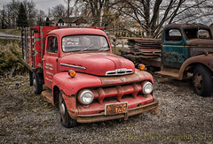 The Red Truck (HTT) (13skies) Tags: singleshothdr sonya57 truckthursday red truck notl niagaraonthelake pickuptruck headlights old relic antique classic cool sitting parked sony happytruckthursday fordpickup ford