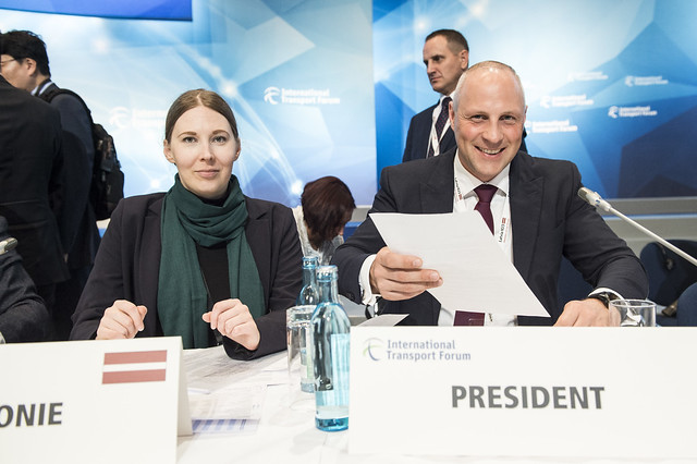 Annija Novikova and Kaspars Ozolins preparing for the Closed Ministerial session