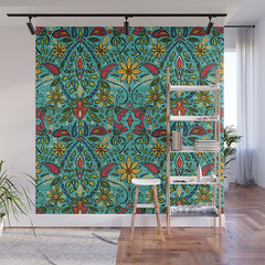 aziza turquoise wall mural (Scrummy Things) Tags: sharonturner aziza morocco marrakech marrakesh illustration paintedwood flowers floral pattern surfacedesign boho bohemian summer festival society6 soc6 wallmural mural turquoise