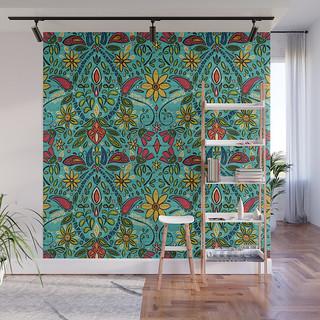 aziza turquoise wall mural