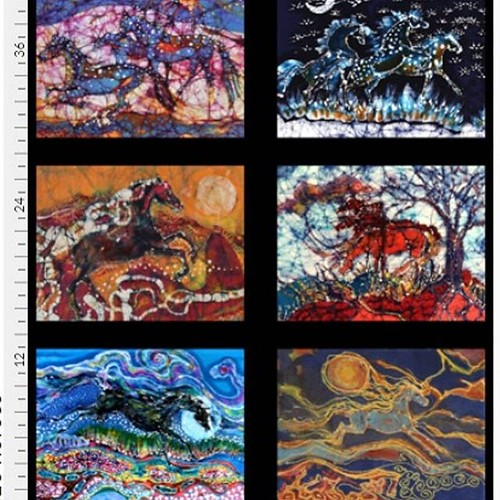 Excited to share the latest addition to my #etsy shop: 6 Fabric panels from my horse batik -art fabric 12