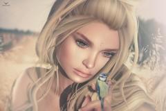 Miranda~Hey little one... (Skip Staheli *FULLY BOOKED*) Tags: mirandabrinner skipstaheli secondlife sl avatar virtualworld bird blonde cute summer portrait closeup face headshot meadow dreamy digitalpainting