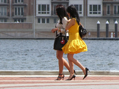 Harbor Steppin' (Multielvi) Tags: baltimore maryland md street city inner harbor women candid heels high waking