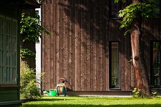 Garden Tools Beside A Modern Building