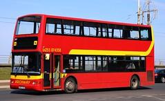Archway Travel, Fleetwood W557 RSG southbound on Blackpool Promenade passing the Pleasure Beach. (Gobbiner) Tags: plaxton archwaytravel w557rsg 557 lothian trident readingbuses dennis president fleetwood blackpool greenbus