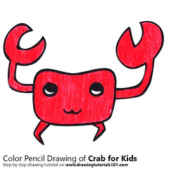 Crab for Kids (drawingtutorials101.com) Tags: crab for kids cartoon animals easy step by sketching draw drawing drawings color colors coloring how sketch speed