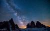Tre cime di Lavaredo - milkyway (losmeckos) Tags: dolomiti trecimedilavaredo italy nightscape alto adige südtirol