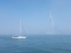 Portsmouth Harbour fog (skipnclick) Tags: fog mist low visibility portsmouth spinnaker tower water harbour yacht misty foggy bright sea blue gosport ferry