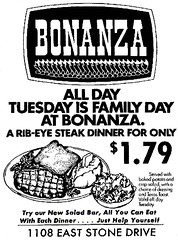 Bonanza - Tuesday is Family Day (1978) (Brett Streutker) Tags: restaurant cafe diner eatery food hamburger cheeseburger eat fast macdonalds burger vintage colonel sanders kentucky fried chicken big mac boy french fries pizza ice cream server tip money cash out dining cafeteria court table coffee tea serving steak shake malt pork fresh served desert pie cake spoon fork plate cup drive through car stand hot dog mustard ketchup mayo bun bread counter soda jerk owner dine carry deliver monochrome people photo