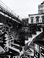 Black and White World (Feldore) Tags: londonshoreditch abstract architecture patterns reflected reflection shop stairs steps street urban window zebra london shoreditch feldore mchugh em1 olympus 1240mm mono
