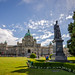 British Columbia parliament building with Queen Victoria in front of it