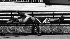 relaxation (byronv2) Tags: edinburgh scotland blackandwhite blackwhite bw monochrome man candid street peoplewatching bench banc lyingdown polwarth edimbourg canal unioncanal towpath sunny sunshine sunbathing phone mobilephone cellphone socks shorts