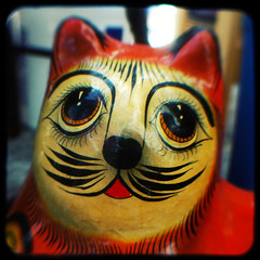 Kitty cat (rustman) Tags: sculpture papermache face cat vintage art craft square color colorful saturated urbanacid pentax istd kodak duaflex2 ttv throughtheviewfinder texaslife