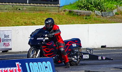 Man and Machine (peggyhr) Tags: peggyhr may122018 missionracewaypark sonydschx80 dsc01548a mission bc canada dragracing red black thegalaxy thegalaxystars frameit~level01~ thelooklevel1red worldinfocusl1 groupecharlie01 dslrautofocuslevel1 thelooklevel2yellow thegalaxystarshalloffame halloffamegallery bikersbikesbabes thegalaxylevel2 harleydavidsonmetricmotorcycles blue green