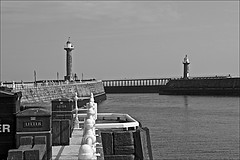 Whitby Piers Monochrome (brianarchie65) Tags: whitby whitbychurch whitbypier fishermen fishingboats fishing sands pier piers lighthouse lighthouses harbour sea cliffs unlimitedphotos monochrome blackandwhite blackandwhitephotos blackandwhitephoto blackandwhitephotography flickrunofficial flickruk flickr flickrcentral ukflickr geotagged canoneos600d brianarchie65 northyorkshire yorkshirecoast yorkshire