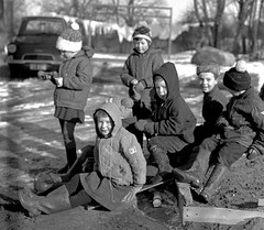 At Play (theirhistory) Tags: children kids boys girls school class group form coat hat jacket trousers wellies rubberboots