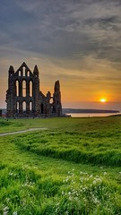 Setting sun...  Took this quick shot of Whitby Abbey on my S9+ (L A H Photography) Tags: sunset sunsets abbey whitby landcape s9 colourful magical architecture yorkshire orange grass