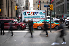 Walking Would Be Faster (cookedphotos) Tags: 2018inpictures toronto ontario canada ca financialdistrict bay truck faster typography slow stop stuck pedestrian walking blur motion fast 365project p3652018