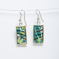 Japanese Paper, Silver, and Resin Earrings by Bashful Pineapple (all things paper) Tags: bashfulpineapple paperjewelry resinjewelry silverjewelry paperearrings chiyogami japanesepaper