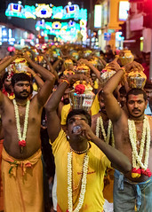 Thaipusam Water Break (Packing-Light) Tags: asia singapore travel city citystate diversity trade religion hinduism festival tamil saffron orange night march walk suffering sacrifice people street sg thaipusam