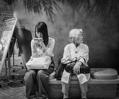 Young and old (Bill Morgan) Tags: fujifilm fuji x100f bw jpeg acros lightroomclassic kichijoji tokyo
