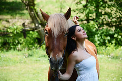 Horse Lover (Elena Grigorieva) Tags: whitedress white woman beautiful outdoor nikon easy joy lovemylife love grigorievaphotography magicmoments thankful happy brunette horsewhisperer horselover girlwithahorse environmentalportrait redhorse horse