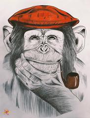 P e n s i v e M o n k e y (ⓒ Cєℓια'Gяαρнy) Tags: drawing painting draw drawingoftheday drawsomething painter paint artwork artistsoninstagram artista fashion model france nature blackandwhite blackandwhitephoto colors savage creative artist original amazing picoftheday monkey animal byme kunstundnatur