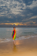 Portrait at Kata Noi beach (Phuketian.S) Tags: portrate sea ocean color beach phuket girl people katathani woman portrait sunset cloud women sky thailand wave