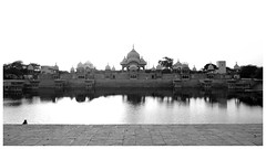 Kusum Sarovar (ArticClock) Tags: monuments history historical india uttar pradesh mathura vrindavan sky monochrome black white bnw bw building architecture north east west contrast highlights pond water reflection