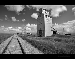 elegy in black & white (Gordon Hunter) Tags: grain elevators tin sheet metal wood sun summer clouds bw black white monochrome rail railway railroad train tracks ballast gravel grass field prairies building tall dankin sk saskatchewan country rural canada gordon hunter nikon d5000 towers