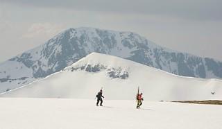 Skiers on Aonach Mor.