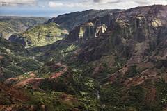 Kauai Heli Tour 16 - Waimea Canyon (lycheng99) Tags: ea waimea canyon mountains valley red rock formation volcanic rocks kauai hawaii tropical aerial view creek mauna loa helicopter tours travel landscape nature mountain cliff maunaloahelicopter maunaloahelicoptertours volcanicrocks aerialview