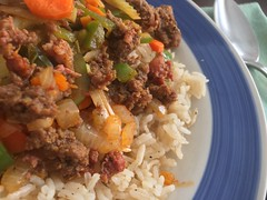 A Simple #Supper – h (SouthernBreeze) Tags: tomatillo celery tasty color light friends fun family trip travel sooc iphoneography i6 2018 pork meat mix protein vegetables quick easy simple sautée onion carrot blue green spoon plate chorizo cooking recipe bellpepper sausage supper meal rice food