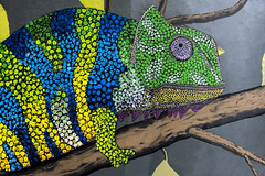 chameleon (Greg Rohan) Tags: paintedstreetart paintedstreetwalls urbanart streetart australia queensland brisbane urban artist artwork art arte aboriginal aboriginaldotwork dots lizard chameleon nikkor nikon 2018 d750 green blue