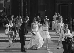 Will You.... (clarkcg photography) Tags: chicago michigan superior corner intersection blackandwhite blackwhite bw people group busy bustle wedding gown bridesmaid bride groom bestmen photographer