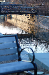 March Bridge (Anna Sikorskiy) Tags: town canal bridge cityscape architecture design water waterfront reflections bench naturallight sunset evening cold springtime artistic abstract shadows lines northeast usa canon annasikorskiy landscape atmosphere mood