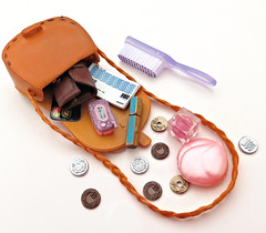 What's In Your Doll's Bag? (MurderWithMirrors) Tags: rement miniature purse bag brush makeup compact lipstick wallet checkbook money change creditcard phone cellphone mwm