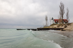 Seafoam Green II (Aaron Springer) Tags: michigan northernmichigan lakemichigan thegreatlakes pointbetsie lighthouse surf waves water stormclouds spring may outdoor nature landscape