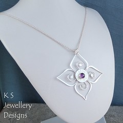 Amethyst Swirl Blossom Sterling Silver Pendant (KSJewelleryDesigns) Tags: metalwork flower pendant necklace jewellery jewelry handmade brightsilver shine sterlingsilver silverjewellery handcrafted silver silverwire metal hammered shiny polished bright soldered soldering brushed flowers petals sawing piercing silversmith silversmithing daisy daisies blooms blossom gemstone cabochon flowerpendant swirlblossom texture stamens organic wirework stonesetting amethyst swirl amethystpendant