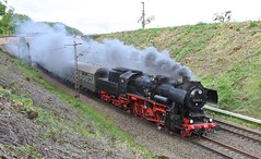 Herzerath Rhineland-Palatinate Germany 1st May 2018 (loose_grip_99) Tags: salmdal rhinelandpalatinate germany deutschland dampf spektakel railway railroad rail train steam engine locomotive transportation preservation db class 52 2100 13608 gassteam trains railways may 2018 herzerath