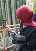taking pictures (mhobl) Tags: pictures fotografer photografer red cactus jardinmajorelle marrakech garden maroc morocco women scarf blues green