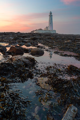 Sitting Under The Sunset Sky (ttarpd) Tags: stmaryslighthouse st marys lighthouse whitley bay bait island tyneside newcastle upon tyne north east tynewear england uk gb britain greatbritain coast sea water rock shore tide causeway seascape landscape sunset sundown dusk twilight eventide reflection