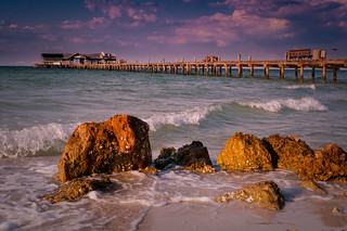 Rocks and Pier on Beach - Anna Maria Island