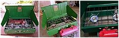 Firing up a Classic (Dave* Seven One) Tags: picmonkey coleman colemanstove campstove coleman413g pressurestove green red classic vintage camping campingequipment nos newoldstock 1972 1970s